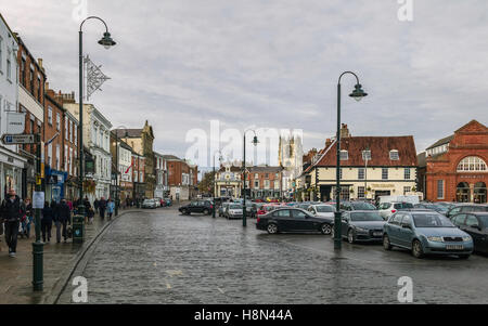 Beverley centre with view of car park, shops, St Marys Church, and the bandstand on an overcast day in autumn. - Stock Photo