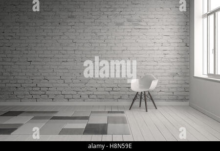 Scene of chair in front of painted brick wall with neutral gray carpet squares on floor. Includes copy space. 3d - Stock Photo