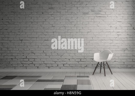 3D rendering interior of room with of white painted brick wall with neutral gray carpet squares on floor. Includes - Stock Photo