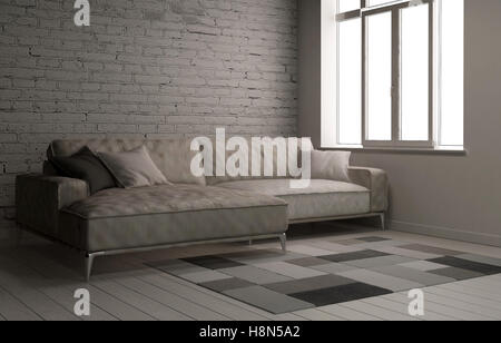 3D rendering interior scene with large comfy sofa in room and painted white brick wall with carpet and window - Stock Photo