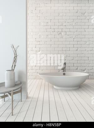 3D rendering of fancy bathtub on wooden plank floor beside sink in simple luxury bathroom with white brick wall - Stock Photo