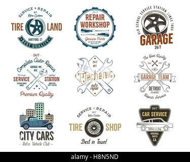 Vintage car service badges, garage repair labels and insignias collection. Retro colors design. Good for repair - Stock Photo