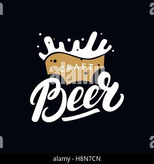 Craft beer hand drawn lettering logo, label, badge for bar, festival, pub, brewery with mug. - Stock Photo