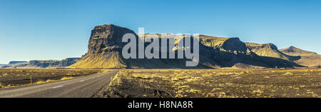 Scenic landscape with the famous ring road in Iceland - Stock Photo