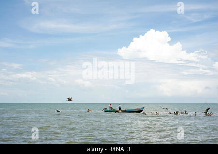 Fishing boats in Caribbean Livingston, Isabal department in Guatemala. - Stock Photo
