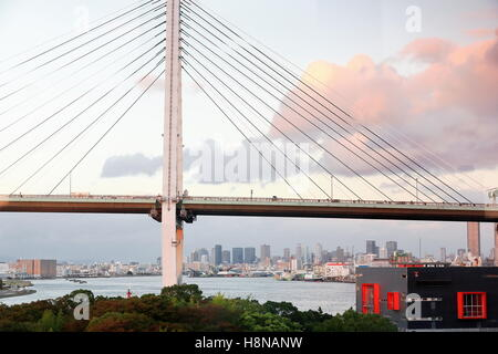 Tempozan Ohashi or Great Bridge over the mouth of the Ajigawa river with 152 ms.at its largest span. Minato ku or - Stock Photo