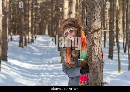Portrait of woman in winter - Stock Photo