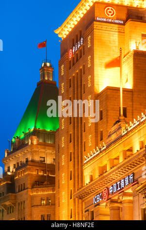 Peace hotel and  Bank of China along the Bund, Shanghai - Stock Photo