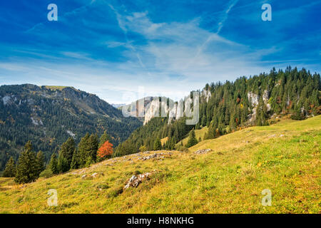 View over rural alpine mounlandscape in fall, Austrian alps, Zillertal - Stock Photo