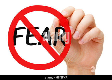 Hand drawing Fear prohibition sign concept with marker on transparent wipe board. - Stock Photo