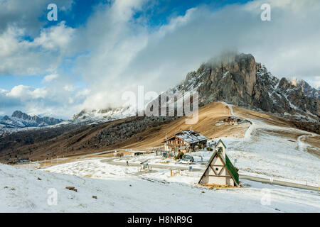 Snowy afternoon at Passo Giau, Dolomites, Italy. - Stock Photo
