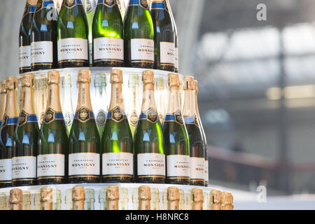 Bottles of champagne on display at the BBC Good Food Show at  Olympia. London - Stock Photo