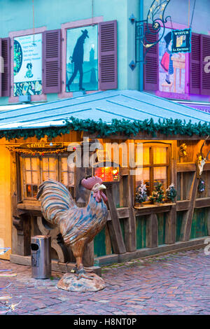 Christmas decorations on typical historic restaurant, petite venice (little venice) Colmar, wine route, Alsace, - Stock Photo