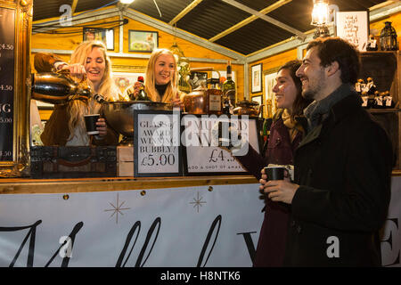 London, UK. 14 November 2016. Christmas market stall selling mulled wine and prosecco. Southbank Centre's Winter - Stock Photo