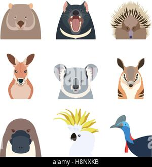 Vector image of the Australian animals flat icons - Stock Photo