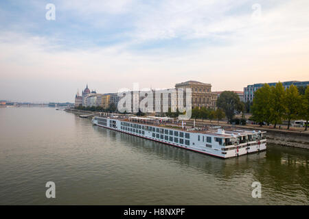 Danube river - panorama in Budapest Hungary. - Stock Photo