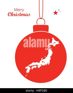 Merry Christmas illustration theme with map of Japan - Stock Photo