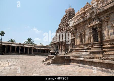 View of south west corner, Airavatesvara Temple, Darasuram, Tamil Nadu, India. - Stock Photo