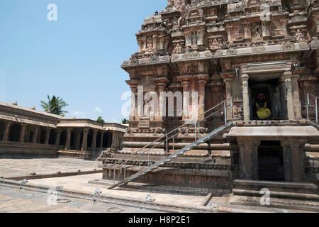 View of the north west corner, Airavatesvara Temple, Darasuram, Tamil Nadu, India. - Stock Photo