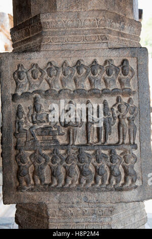 Carving depicting marriage of Kartikeya with Indra's dughter Jayanti or Devasena, Inner pillars, agra-mandapa, Airavatesvara - Stock Photo