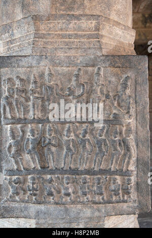 Carving depicting marriage of Kartikeya with Pongi or Valli, Inner pillars, agra-mandapa, Airavatesvara Temple, - Stock Photo