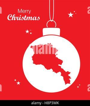 Merry Christmas illustration theme with map of Armenia - Stock Photo
