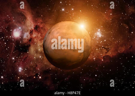 Planet Mars. Nebula on the background. - Stock Photo