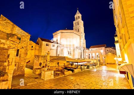 Split cathedral and architecture evening view, UNESCO world heritage site in Dalmatia, Croatia - Stock Photo