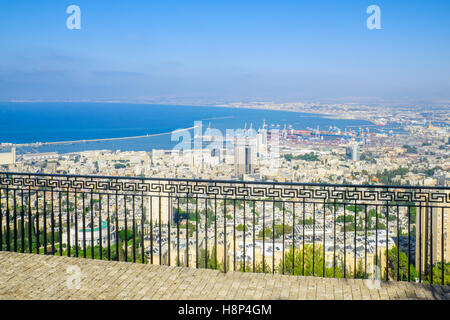 View of the bay and the harbor from the Louis Promenade, in Haifa, Israel - Stock Photo