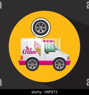icecream truck and wheel icon design vector illustration eps 10 - Stock Photo