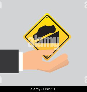 road sign steep decline icon vector illustration eps 10 - Stock Photo