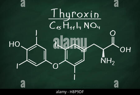 Structural model of Thyroxin on the blackboard. - Stock Photo