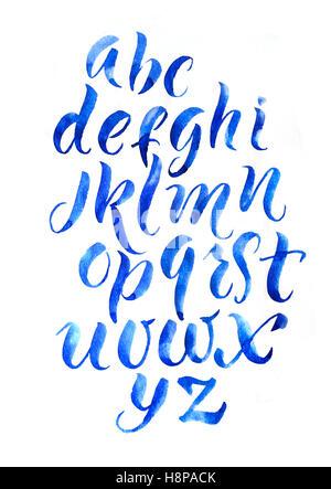 calligraphy alphabet font brush on white background - Stock Photo
