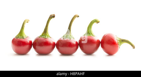 Round chili peppers isolated on white background. - Stock Photo