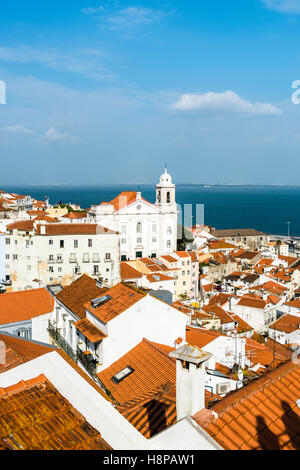 Panoramic of Alfama district and Taugus river in Lisbon Portugal - Stock Photo