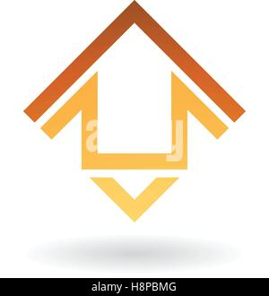 Vector Illustration of Abstract Square Shaped House Icon isolated on a white background - Stock Photo