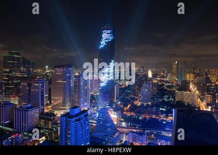 Light and sound show on Mahanakhon building,Mahanakhon building is tallest building in Bangkok,Thailand. - Stock Photo