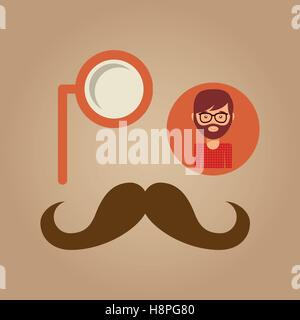 hipster concept mustache and monocle man vector illustration eps 10 - Stock Photo
