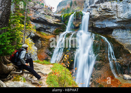 Waterfall in Estrecho cave. Ordesa National Park. Pyrenees, Huesca, Spain, Europe - Stock Photo
