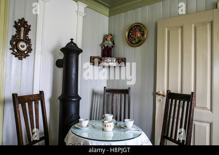 Vintage style Icelandic farm kitchen dining room at the Glaumbaer Turf Farm Museum coffee shop, in Varmahlid, Iceland - Stock Photo