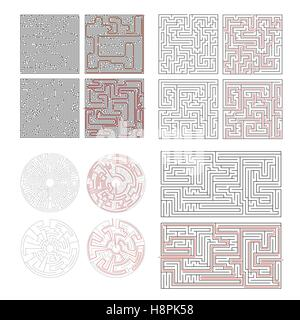 Set of different labyrinths with solutions isolated on white - Stock Photo