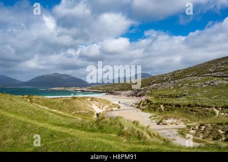 Dunes with sandy Luskentyre Beach, Isle of Harris, Outer Hebrides, Scotland, United Kingdom - Stock Photo