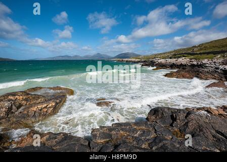 Rocky Coast, Peninsula Luskentyre, Isle of Harris, Outer Hebrides, Scotland, United Kingdom - Stock Photo