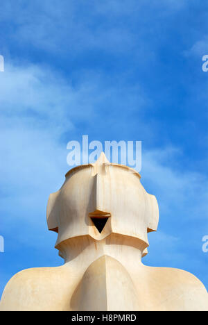 Chimney on roof terrace of Casa Mila or La Pedrera building, designed by Antoni Gaudi, Barcelona, Catalonia, Spain, - Stock Photo