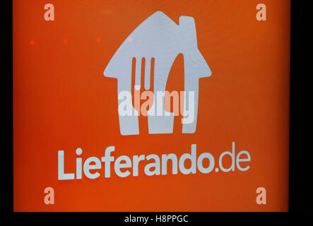 das Logo der Marke 'Lieferando', Berlin.