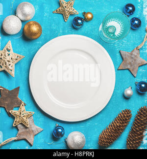 Christmas, New Year holiday background with white plate, copy space - Stock Photo