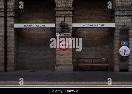 Notting HIll Gate tube station, London UK - Stock Photo
