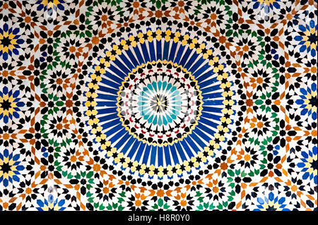 Mosaic, Kasbah Telouet, Morocco: the colorful geometric patterns of an Islamic mosaic decorate the walls the Kasbah - Stock Photo