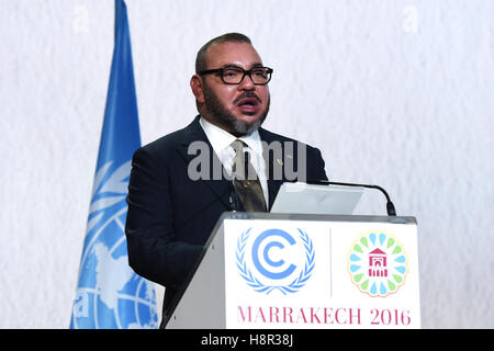 Marrakech, Morocco. 15th Nov, 2016. King Mohammed VI of Morocco addresses the opening of the joint High-Level Segment - Stock Photo