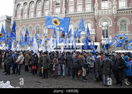 Kiev, Ukraine. 15th Nov, 2016. People take part in a rally of bank customers, in front the National Bank of Ukraine, - Stock Photo
